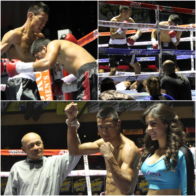 At the conclusion of Bout #1, Jessie Resendiz has his arm raised in victory by referee Juan Morales Lee.