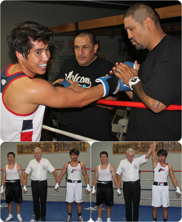(top photo) At the conclusion of his bout with Jaime Suazo, Hai Tran has his arm raised in victory by referee Rick Ley.