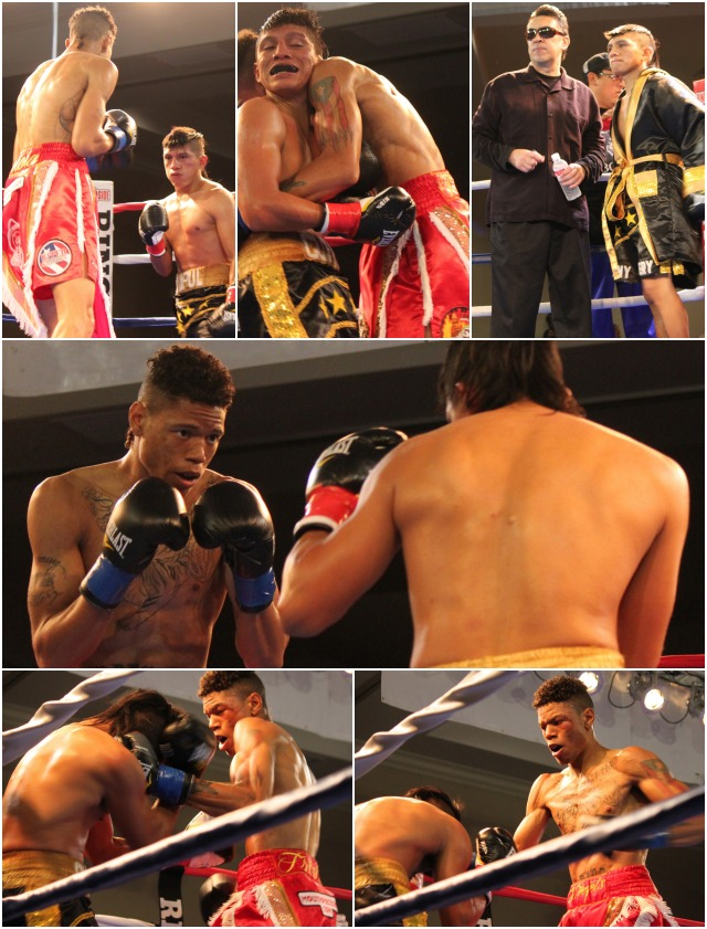 Prince Tiger Smalls (red trunks) battles the shorter Pablo Cupul in Bout #3.