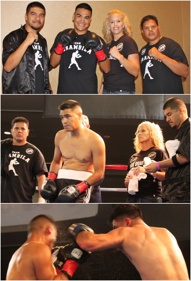 (top photo) Just prior to his match versus David Barragan, Arthur Brambila and his support staff pose for a phot in their dressing room. Photos: Jim Wyatt