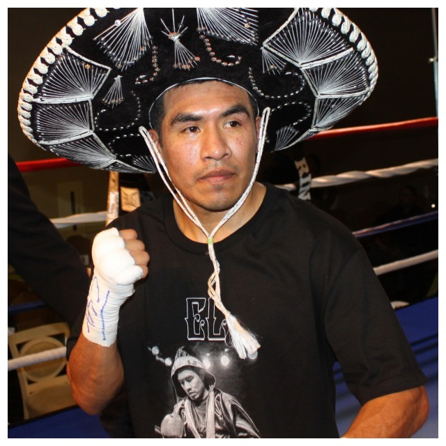Aaron Garcia, wearing the traditional Mexican sombrero, poses for photos after getting win #13. Photo: Jim Wyatt