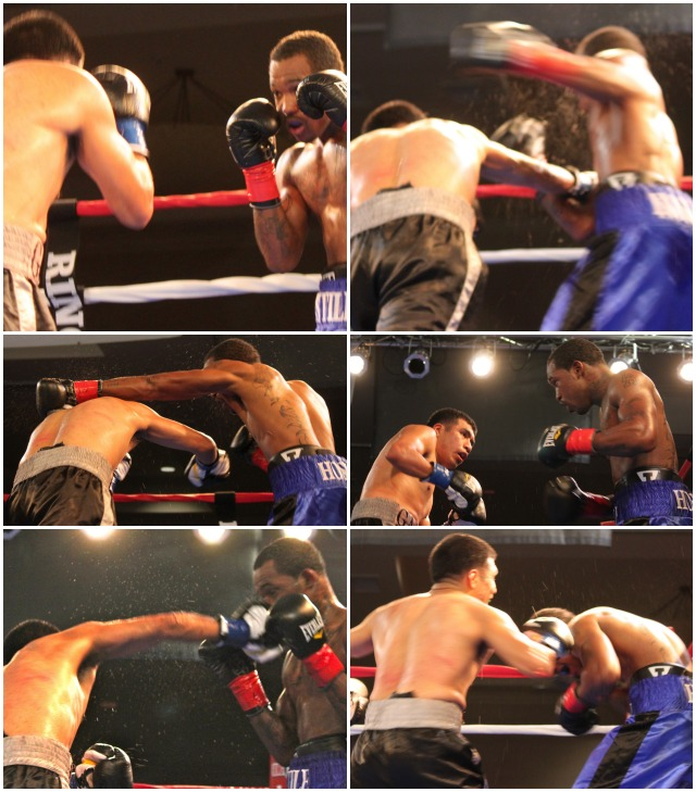The action shots from Bout #5, the Main Event, show Kevin Hoskins (blue trunks, right) doing battle with Aaron Garcia (black Trunks, left). All photos: Jim Wyatt