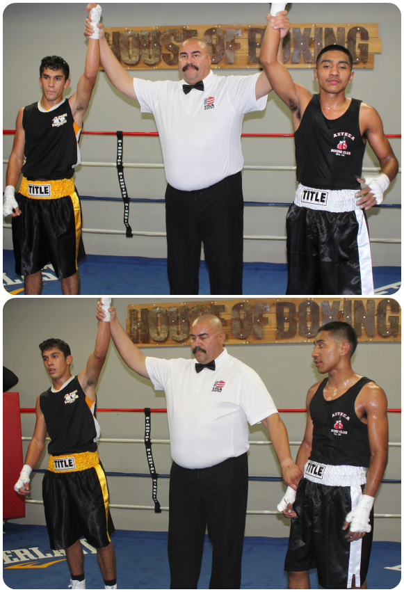 (bottom) At the conclusion of Bout #6, Robert Lopez has his arm raised by referee Hondo Fontan after defeating Kenneth Vado.