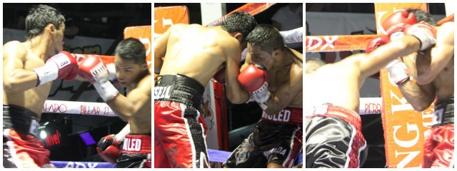 (photos, left and center) Boxer Reynaldo Russell (red trunks) unloads the heavy artillery on his opponent Jose Pech. Russell had him pinned in the corner. Photo: Jim Wyatt