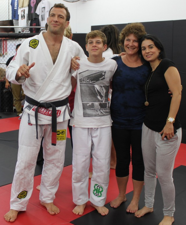 Eduardo Telles shown here with his family at his 99 Gym on Governor Drive in San Diego is always mentioning wearing his sponsors and wearing their logos and apparel.