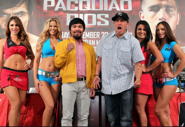 At this early morning press conference it appears Brandon Rios (r) was awakened too early. Everyone knows he's night person.