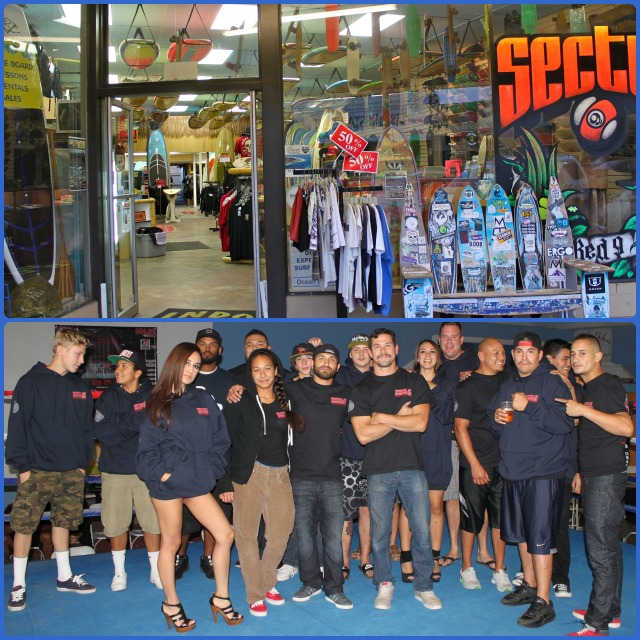 The venue for the Silver Gloves boxing show was just down the street from this surfboard supply store. (below) The show's organizing committee gets together at the end of the show for a group photo. All photos: Jim Wyatt