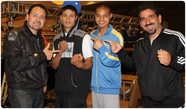 Victor Fonseca is joined by his support group of (l to r) co-manager/trainer Gabriel Quinones, Fonseca, friend/sparring partner Johnny Ballesteros, and co-manager/trainer Luis Lorenzo.