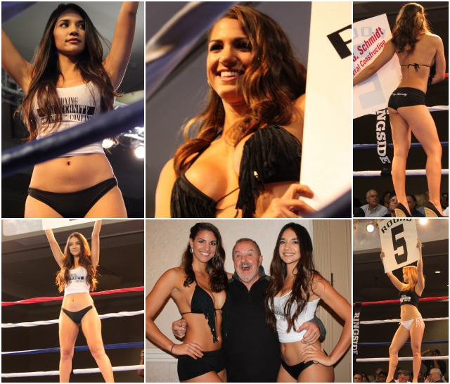 Where would boxing be without the lovely Ring Card Girls to keep us advised as far as which round it was? Joe Stidman was a big hit with the ladies and joined them for a photo op. All photos: Jim Wyatt