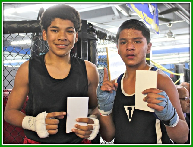 Bout #2, in the 12 to 13 year-old, 114 pound weight class, featured Giovanni Moncada of M.T.C. getting the win over Isaac Wright of the ICIW (I can, I will) Boxing Team.