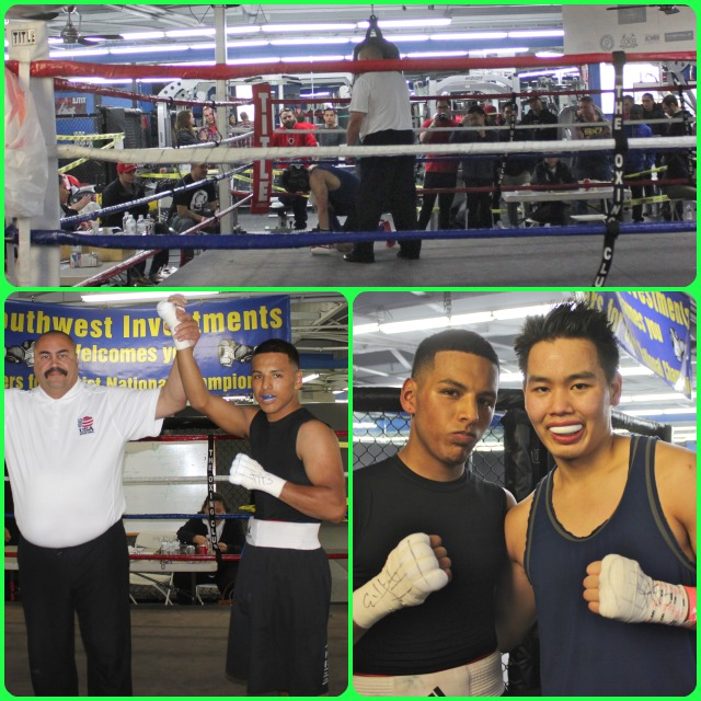 (top photo) Referee rushes to assist boxer Eric Nguyen