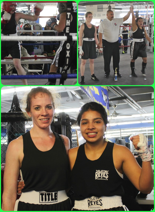 After going at it for three grueling rounds in Bout #19, Kimberly Deede (l) and Jessica Corral