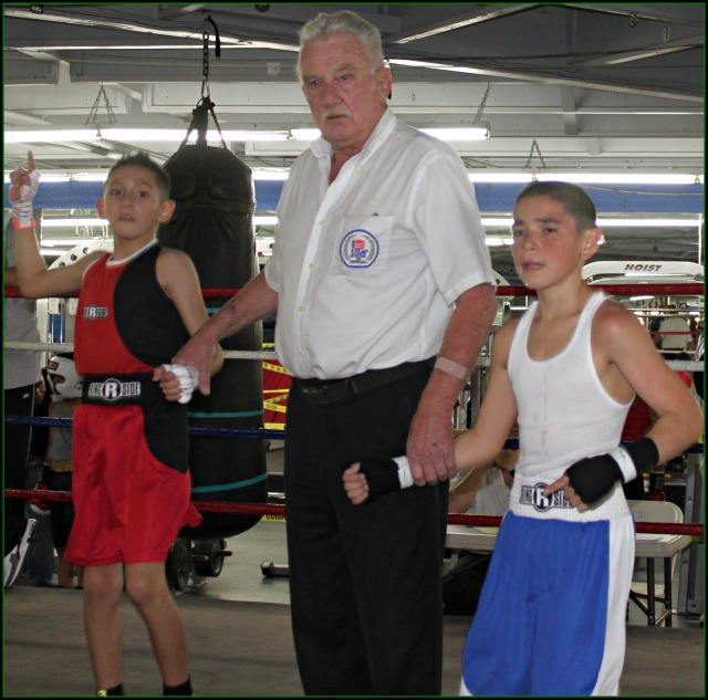 After the announcement of his victory, Fernando Diaz of Steele Boxing, Las Vegas, Nevada will have his arm raised in victory by referee Rick Ley.