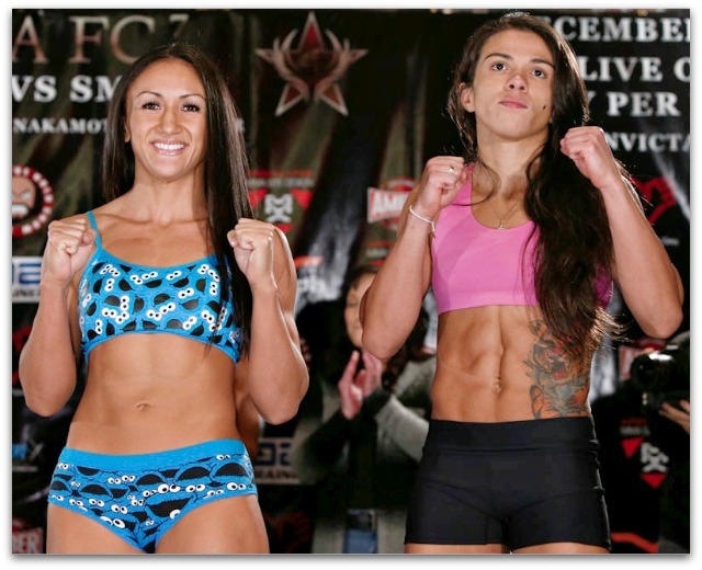 "Carla ""Cookie Monster"" Esparza (9-2, 3 KOs) of Team Oyama, Redondo Beach, CA, defending her belt against undefeated Brazilian superstar 25 year-old Claudia Gadelha"