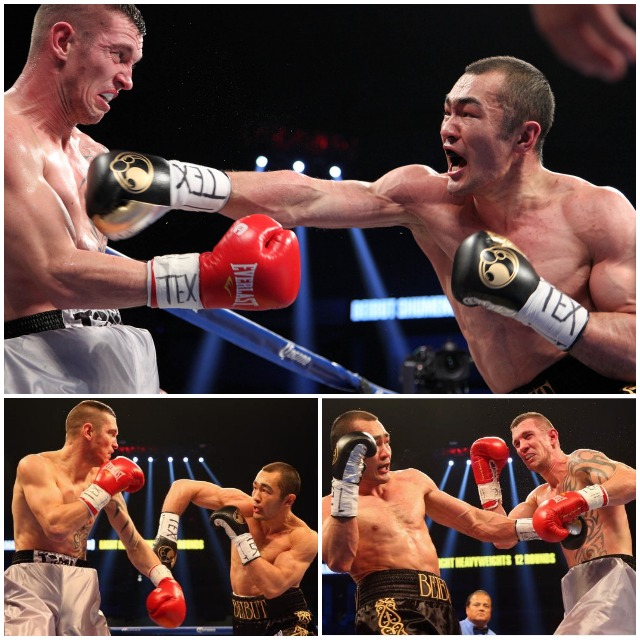 (top photo, L-R) Tamas Kovacs and Beibut Shumenov battle it out during their WBA Super World & IBA Light Heavyweight title bout at the Alamodome on December 14, 2013. All photos: Ronald Martinez/Getty Images