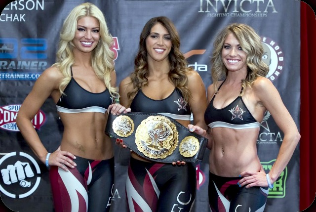 The Invicta FC Phoenix Girls: (l to r) Shannon Ihrke, Gianna Puppo and Natasha Wicks. Photo: Esther Lin