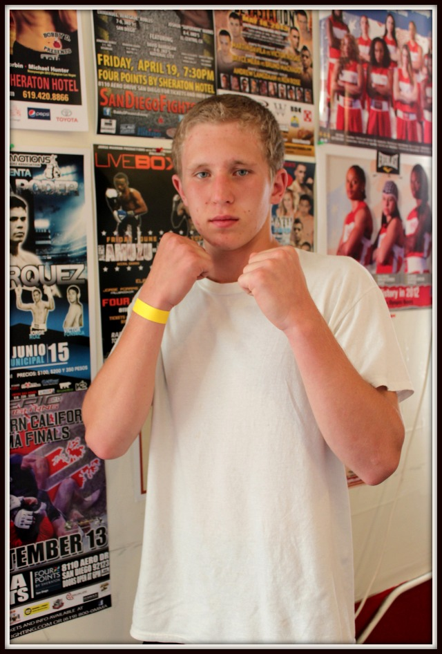Bout #3 featured 16 year-old Kyle Erwin of Rhino's Boxing, Vista in his Amateur debut (129.2 pounds) taking the victory over 16 year-old Pablo Benavides of JSK (121.2 pounds).