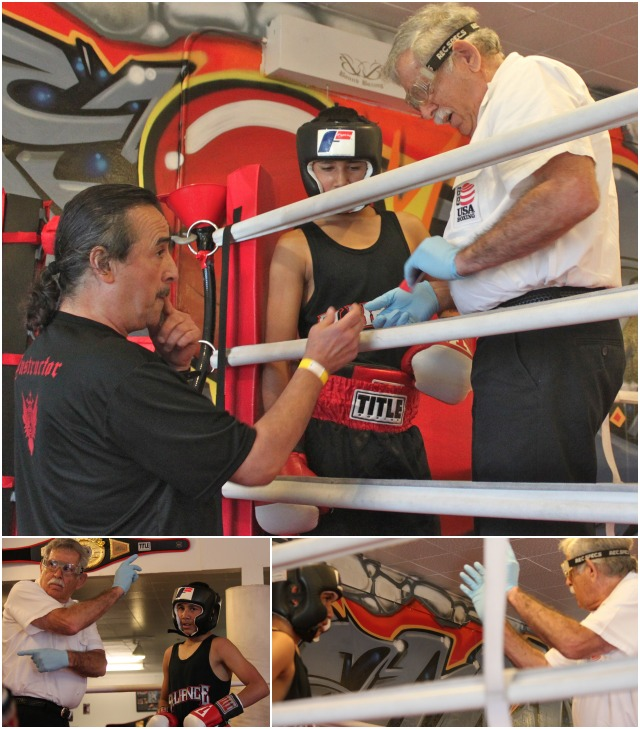 (top) Prior to his Bout #1 performance  against Daniel Andujo, Roberto Hernandez (c) receives last minute instructions from his coach Sergio Meleldrez (l) and referee Will White (r). (bottom) Hernandez, a victim of two early stoppages, receives the customary 8-counts from the referee.