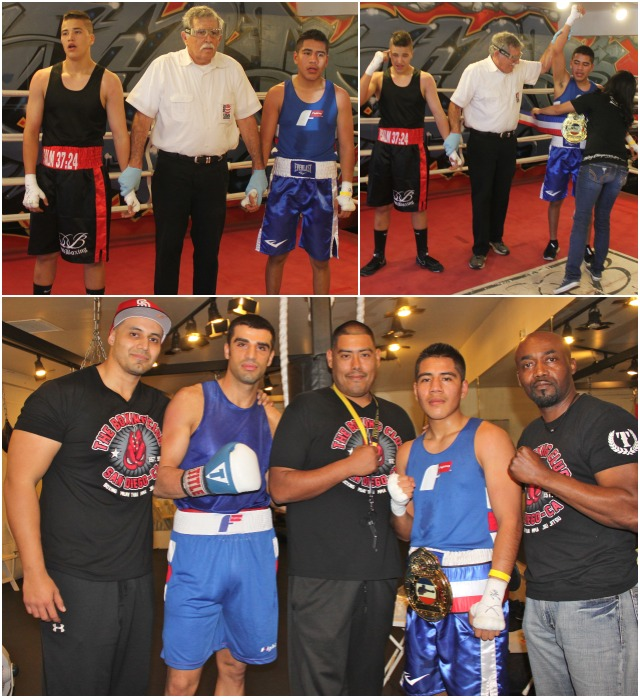 At the conclusion of his bout with Adrian Sanchez, Carlos Remigio poses for a photo with his coaches and fellow boxer Salam Alchi from the Boxing Club of La Jolla.