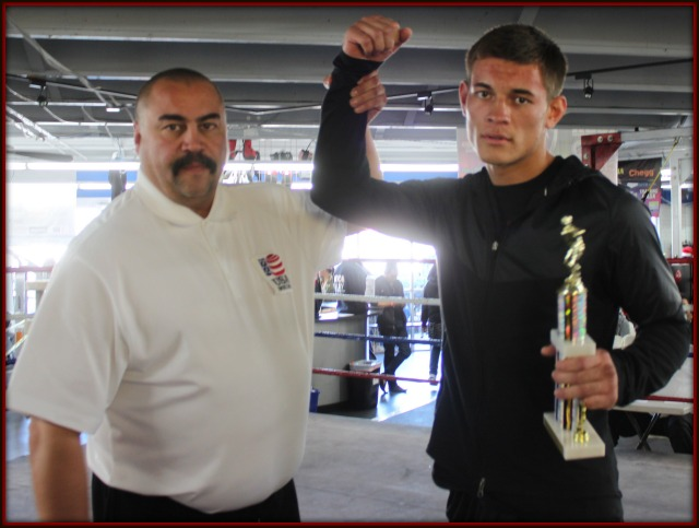 Bout #8, in the 165 pound, 17 and up Novice category, became a walkover victory for Christian Olivas of the Intensity MMA Gym in South San Diego after his opponent failed to make weight.