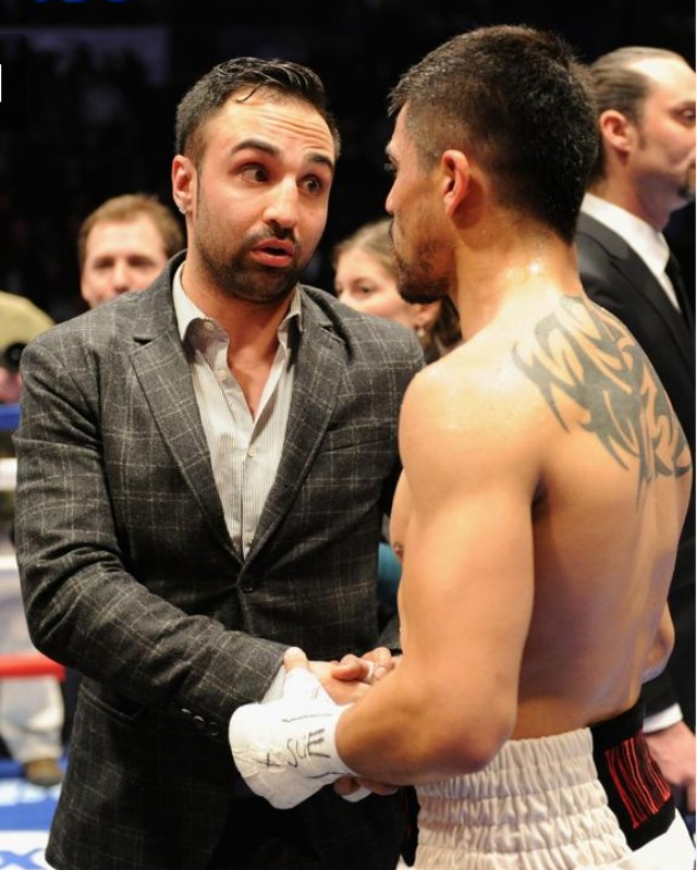 """No, you didn't win."" Boxer Paulie Malignaggi, left, talks with Victor Ortiz after his WBA International welterweight title fight loss to Luis Collazo at Barclays Center. Photo: Maddie Meyer/Getty Images"