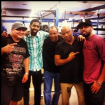 Trainer Henry Ramirez chilling with Marcus Watson, Ronnie Shields, Rodney Hunt and Brandon Watson.