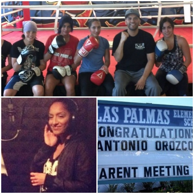 "Coach Juan Medina Jr. is shown sitting on the ring's apron with his outstanding female boxers. One of the young ladies, Maria Eckley (bottom left) did an admirable job of singing the National Anthem just prior to the show. (bottom, right) Showing their support of Antonio Orozco, Las Palmas Middle School changed the announcement on the school's sign to read ""Congratulations Antonio Orozco."" The Community spirit for local heroes runs high in San Diego."
