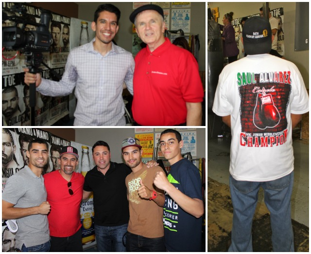 (top, right) Yours truly got a chance to meet Marcos Villegas from the Boxing Channel. (below) Oscar De La Hoya poses for photos with the Arellano clan which includes professional boxers Israel and Antonio. Photos: Jim Wyatt