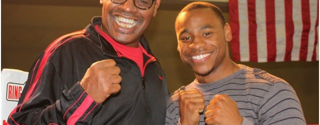 Brandon Adams gets to meet the former heavyweight champion Leon Spinks at the April 19, 2013 show Bobby D Presents
