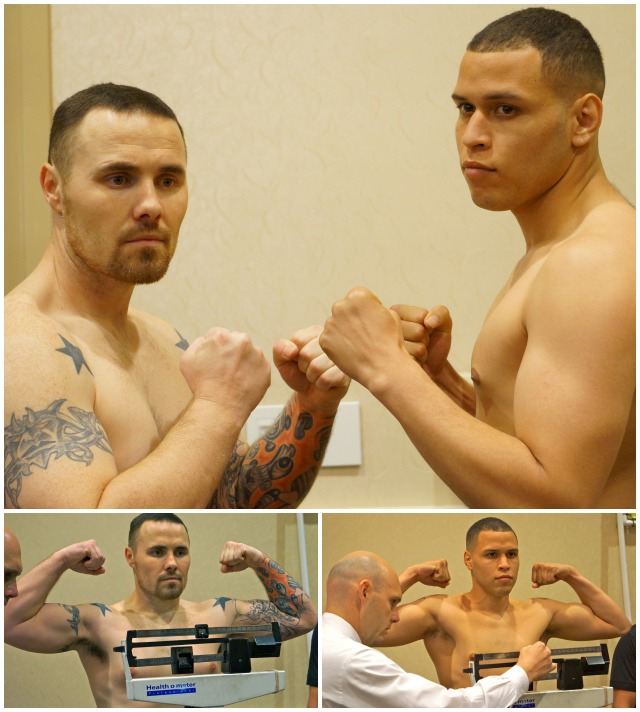 (top) Ulises Sierra (r) and Loren Myers (l) face off after their weigh-ins Thursday night at the Crowne Plaza Hanalei Hotel in Mission Valley.
