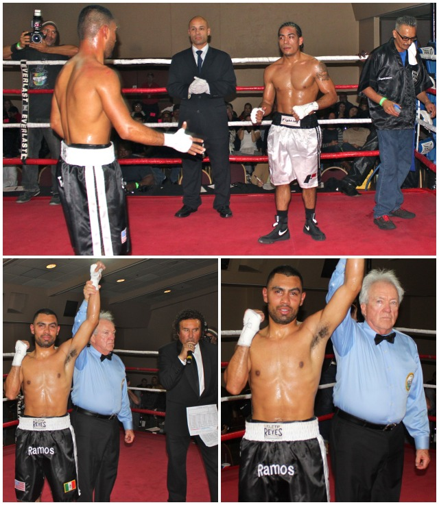 "Roque ""Rocky"" Ramos has his arm raised in victory by Hall of Fame referee Pat Russell. Photos: Jim Wyatt"