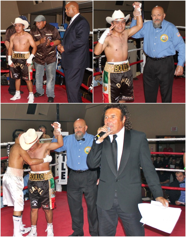 (bottom photo) Johnny Boy Quiroz (l) congratulates the victorious Daniel Covielles who is having his arm raised in victory by referee Jose Cobian. Photos: Jim Wyatt