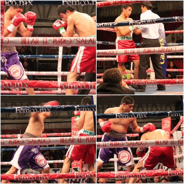 (top, left) Victor Fonseca (purple trunks) and Gerardo Mendoza (red trunks) face off at the beginning of round one in Bout #5.