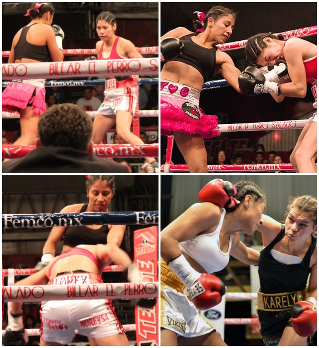 (top, right) Kenia Enriquez (l) of Tijuana is shown delivering a left uppercut to the almost helpless Selene Lopez of Los Mochis, Sinaloa, Mexico. (bottom, right) Enriquez is shown handily beating Selene Lopez's older sister, Karely Lopez, back on October 23, 2013.