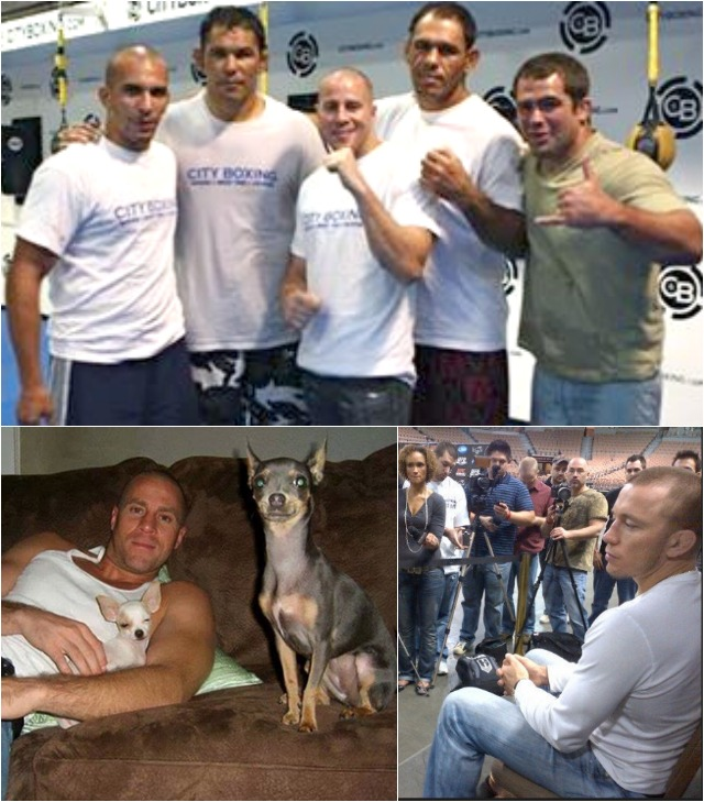 (top) shows Mark Dion with four of the best Brazilian Jiu Jitsu fighters in the world. (below, l to r) We have Mark Dion resting up with his two watchdogs. Then we have  Georges St-Pierre, the Mark Dion lookalike speaking with the media.