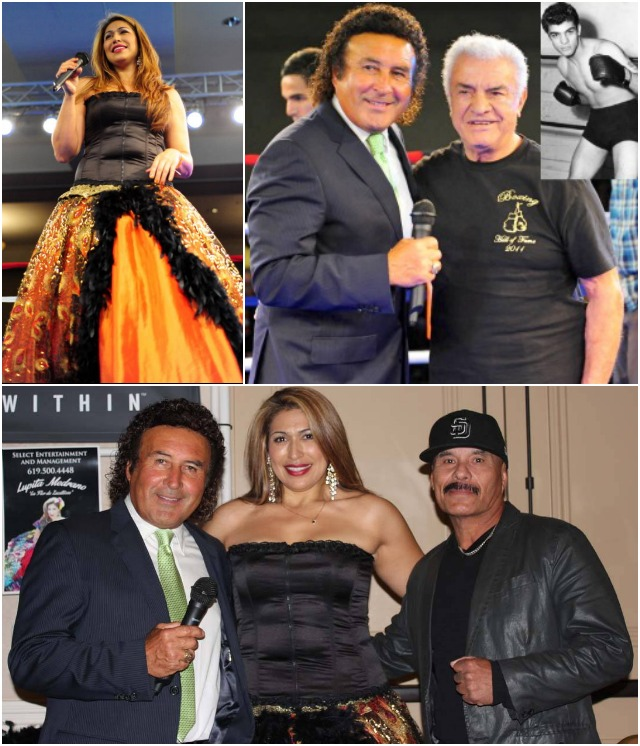 "(top, left) Before the opening bell, vocalist Lupita Medrano ""La Flor de Zacatecas"" opened the show. (top, right) Ring announcer Benny Ricardo poses for a photo with Hall of Fame boxer Ramon Tiscareno (57-14-4) who during his career (1949-1958) spent much of his time in Hollywood mingling with stars like Rita Hayworth, Ava Gardner with his buddy Mickey Rooney. (bottom) Medrano is joined by Ricardo and boxing trainer Pete Moreno (r). Photos: Jim Wyatt"