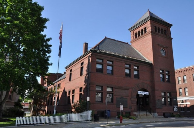 Photo shows the Town Hall in Mark Dion's hometown of Hampton, New Hampshire. Another former resident of note was