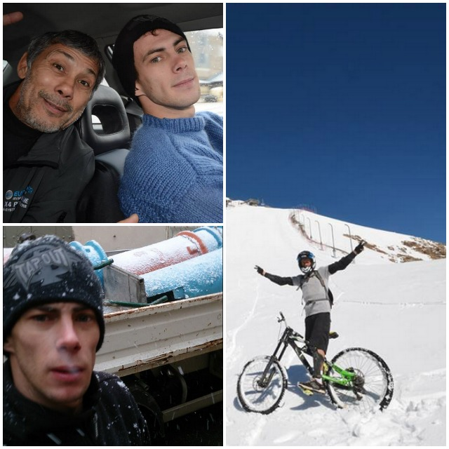 (top panel, left) Aymeric Riandet  his father traveling up to the snow covered mountains for some fun.