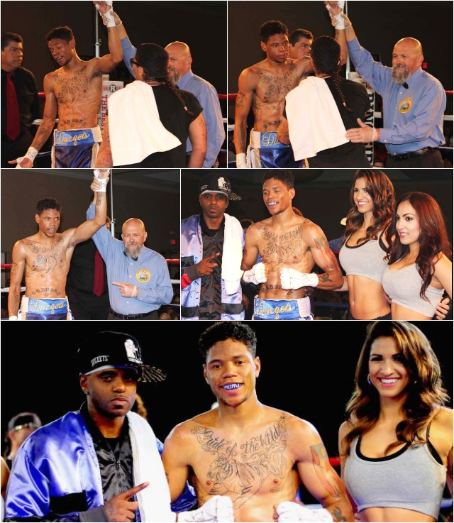 "(bottom) At the conclusion of his bout against Percy Peterson, Prince ""Tiger"" Smalls (c) poses for photos with his father, Tiger Smalls (l). Photos: Paul Gallegos"