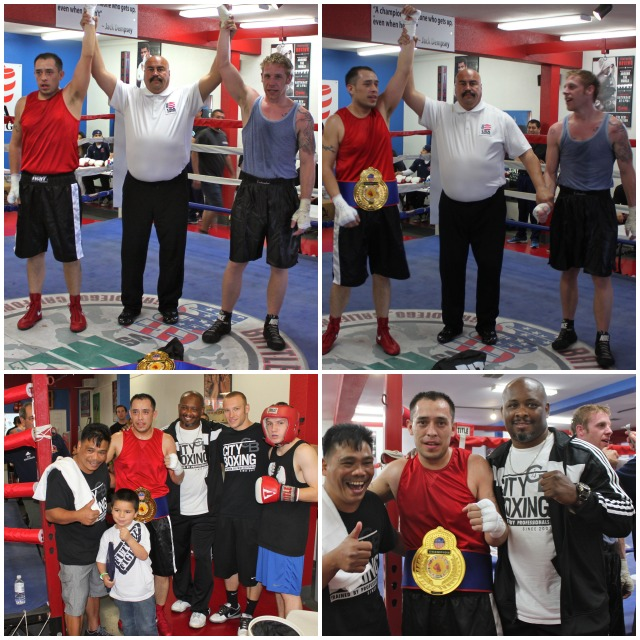 (bottom, right) Marco Mora of City Boxing poses for photos with his coaches Manny Melchor (l) and Vernon Lee (r).