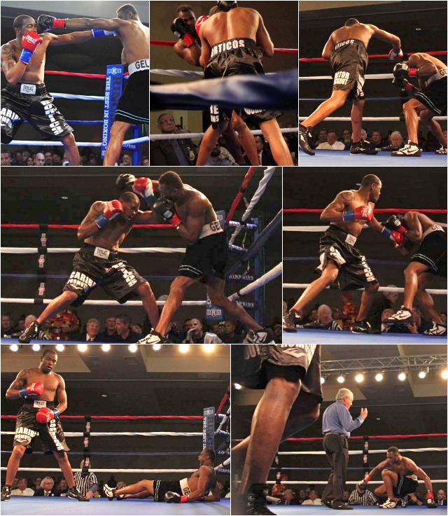 From one side of the ring to the other, Yuniel Dorticos battered his defenseless  opponent Hamilton Ventura. All photos: Jim Wyatt