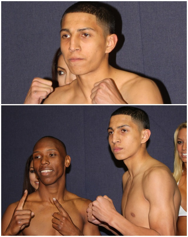 """Bout #4 features (bottom, l to r)  Kelly """"Cornbread"""" Lionell (0-2-0) from Los Angeles, CA going up against another youngster, 18 year-old Mario Barrios (2-0-0, 1 KO) from San Antonio, Texas."""