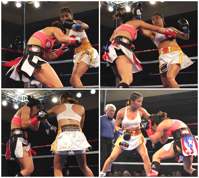 (top two photos) Kenia Enriquez sets her opponent up with a left jab and follows through with a devastating right uppercut. Photos: Jim Wyatt