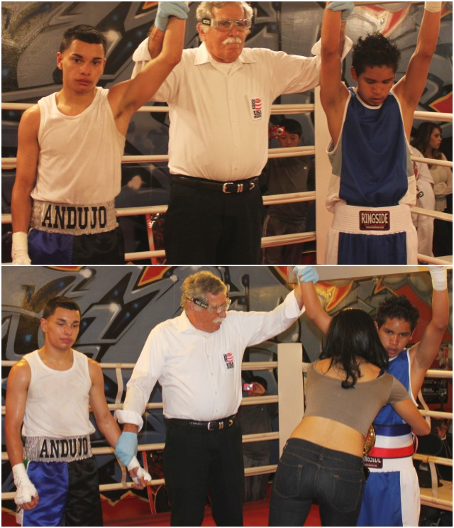 Bout #4, it was 15 year-old Daniel Andujo of Temecula Boxing (108 pounds) going up against 15 year-old Rodolfo Ortigoza of Penacho Boxing (110.6 pounds).