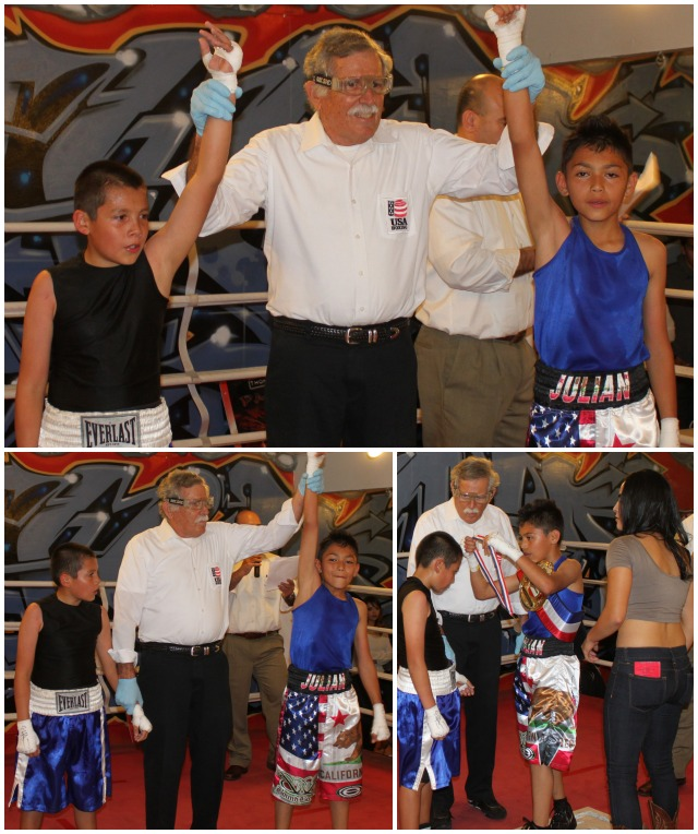 "Bout #5, it was 10 year-old Alfredo ""El Tortuga"" Franco of United Boxing & Fitness, Chula Vista (77.8 pounds) going up against 11 year-old Julian ""Mexican"" Rojas from the host gym Bound Boxing, Chula Vista (77.6 pounds)."