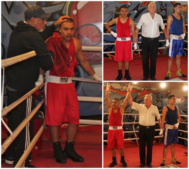 "Bout #9 had 15 year-old Jose Ortiz (134.5 lbs.) from Barrio Station, San Diego going up against the taller, 16 year-old Jorge ""The Eagle"" Zepeda (137.8 pounds) of United Boxing, Chula Vista, who after training just seven months was making his Amateur debut."