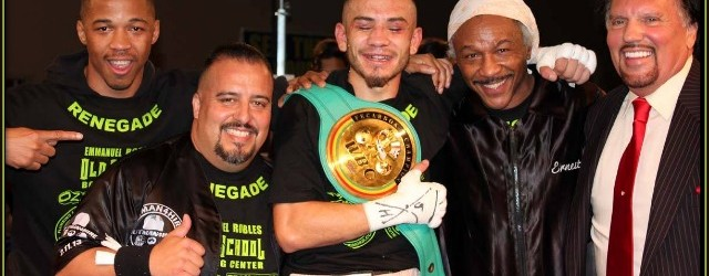 "The celebratory photo shows (l to r) trainer Ernest ""Too Slick"" Johnson, cutman  Juan Ramirez, new Interim WBC Light Welterweight Latino Champion Emmanuel Robles, coach Ernie Johnson and Hall of Fame promoter/manager Bobby De Philippis. Photo: Jim Wyatt"
