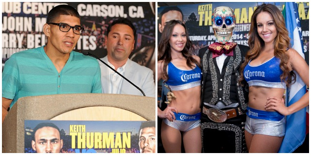 "Antonio ""Relentless"" Orozco (photo, left) addresses the media at Thursday's weigh-ins. (photo, right) The eery gent dressed in el dia del muertos costume poses for a photo with the two representatives of Corona Beer."