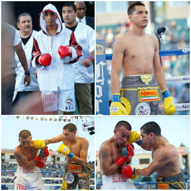 (top, left) Jerry Belmontes makes his ring entrance at the StubHub Center in Carson, CA. (top, right) Omar  Figueroa looks across at his arch nemesis, a gentleman who had beaten him five times in the Amateur ranks. opponent from his Amateur days, an opponent who beat him five times.