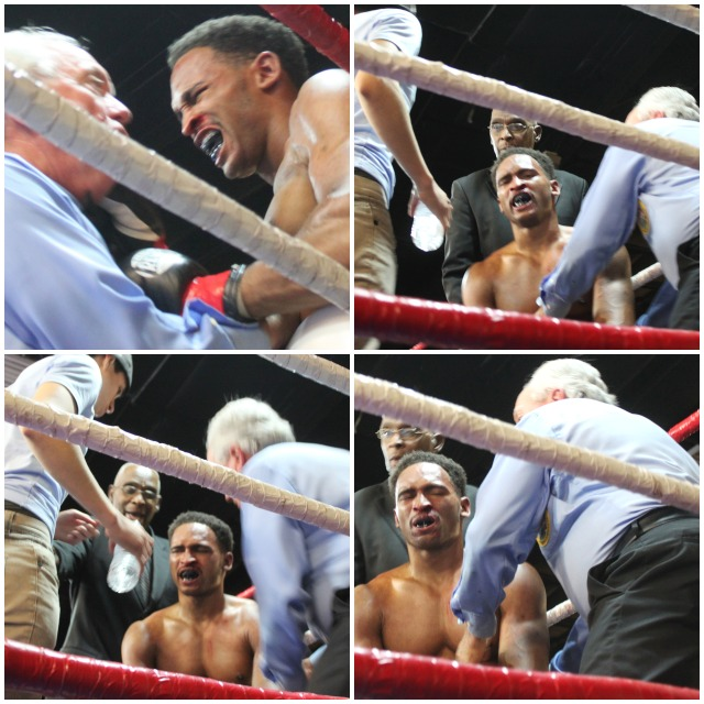"""Stoppage! Why? No way!"" referee Pat Russell got an earful from the protesting Jamel Reynolds. Photos: Jim Wyatt"
